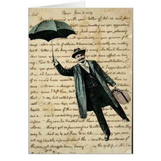 Hombre del paraguas del vuelo en la escritura del tarjeta de felicitación