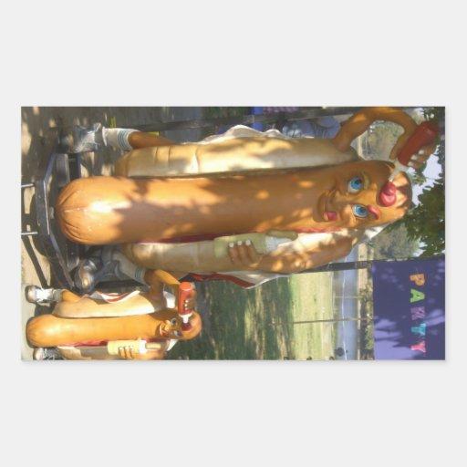 Hombre del perrito caliente y estatua menor rectangular pegatinas
