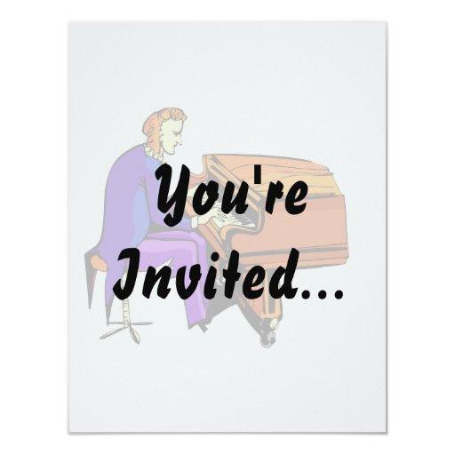 Hombre del piano que juega la capa del azul del invitación 10,8 x 13,9 cm