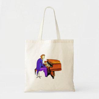 Hombre del piano que juega la capa del azul del pi bolsa tela barata