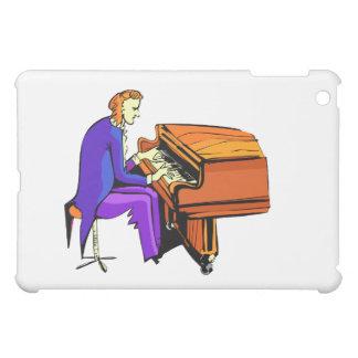 Hombre del piano que juega la capa del azul del pi