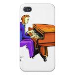 Hombre del piano que juega la capa del azul del pi iPhone 4/4S carcasas