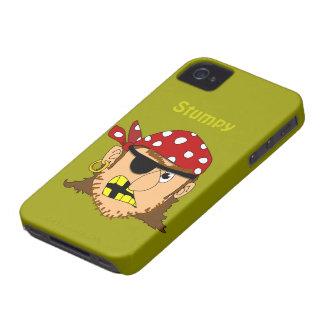Hombre del pirata de Arr con personalizado del iPhone 4 Carcasas
