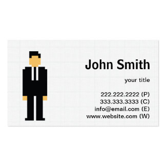 Hombre del pixel en tarjeta negra del perfil del j plantilla de tarjeta de negocio