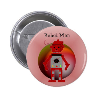 Hombre del robot pin redondo 5 cm