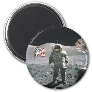 Hombre del último de Apolo 17 en la luna Imán Redondo 5 Cm