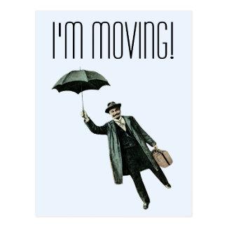 Hombre del vintage con el paraguas postales