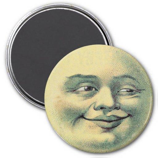 Hombre del vintage en el imán de la luna (grande)