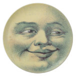 Hombre del vintage en la luna plato