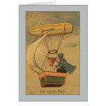 Hombre del vintage en saludos del dirigible no ríg tarjeton