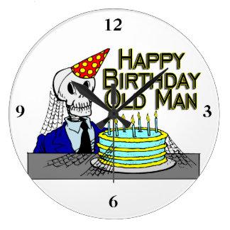 Hombre del Web de araña del feliz cumpleaños viejo Reloj Redondo Grande