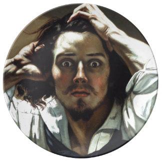 Hombre desesperado de Gustave Courbet Plato De Cerámica