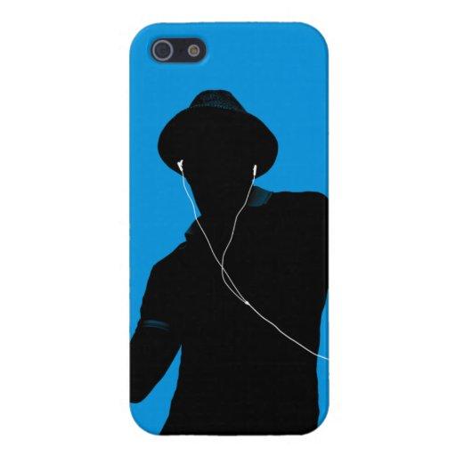 Hombre en auriculares del viejo caso de Iphone 5 d iPhone 5 Funda