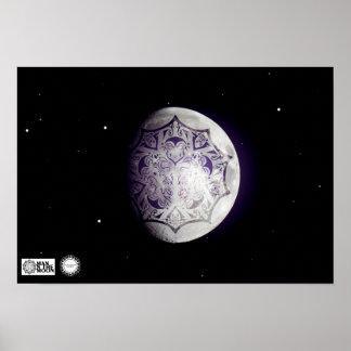 Hombre en el poster del logotipo de la luna