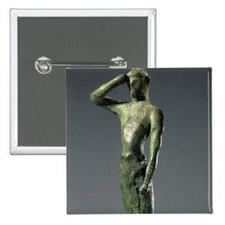 Hombre en el rezo, escultura de bronce griega arca pin cuadrado
