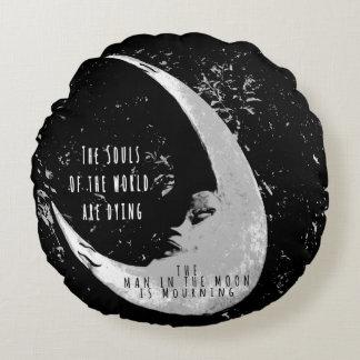 Hombre en la almohada redonda de la luna cojín redondo