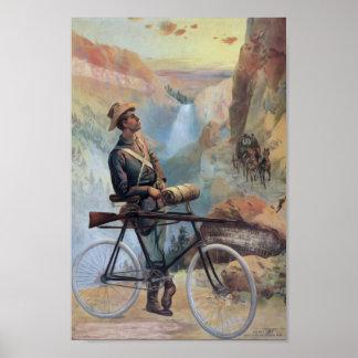 Hombre en la bicicleta, vintage del parque naciona poster