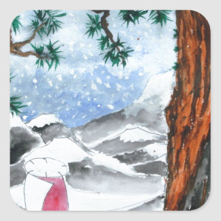 Hombre en la nieve calcomanía cuadradas personalizada