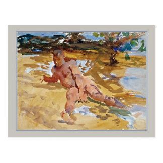 Hombre en la playa la Florida por Sargent Postal