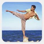 Hombre en los artes marciales que golpean la colcomanias cuadradases