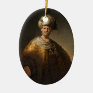 Hombre en traje oriental, por Rembrandt Van Rijn Adorno Ovalado De Cerámica