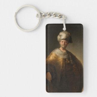 Hombre en traje oriental, por Rembrandt Van Rijn Llavero Rectangular Acrílico A Doble Cara