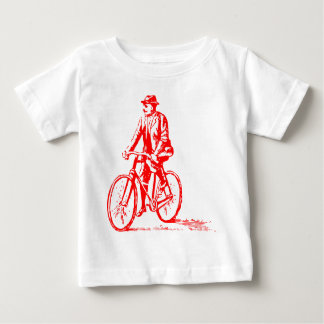 Hombre en una bici - rojo playera de bebé