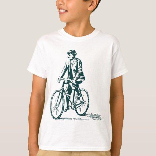 Hombre en una bici - verde oscuro playera