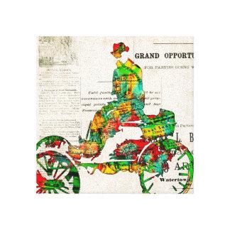 Hombre en una impresión estirada coche de la lona lienzo envuelto para galerías