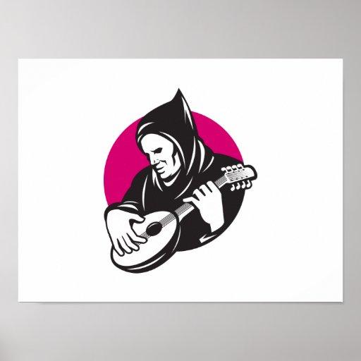 Hombre encapuchado que toca la guitarra del banjo póster