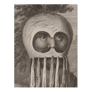 Hombre enmascarado en las islas de bocadillo tarjeta postal