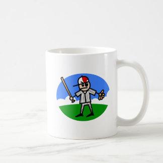 Hombre enojado del palillo tazas de café