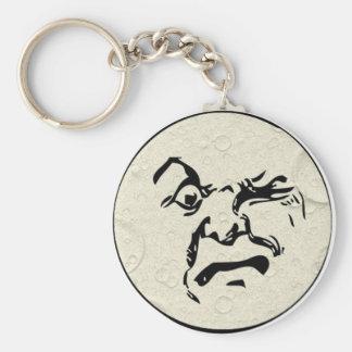 Hombre enojado en la cara de luna llaveros personalizados