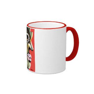 Hombre enojado tazas de café
