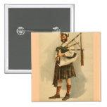 Hombre escocés de la falda escocesa del jugador de pins