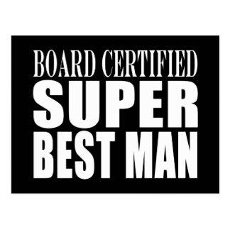 Hombre estupendo certificado tablero del favor de postales