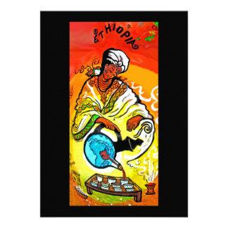 Hombre etíope en té de colada del turbante invitaciones personalizada