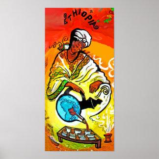 Hombre etíope en té de colada del turbante posters