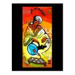 Hombre etíope en té de colada del turbante postales