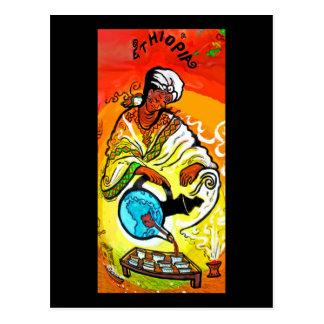 Hombre etíope en té de colada del turbante tarjetas postales