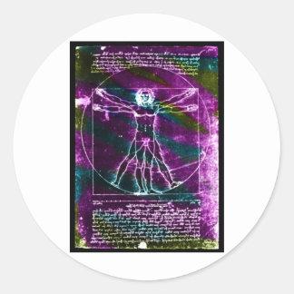 ¡Hombre famoso de DaVinci en el dibujo del círculo Pegatinas Redondas