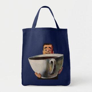 Hombre feliz del vintage que bebe la taza de café bolsa tela para la compra