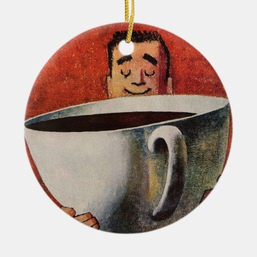 Hombre feliz del vintage que bebe la taza de café  adorno de reyes