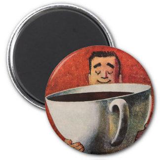 Hombre feliz del vintage que bebe la taza de café  imán de frigorífico