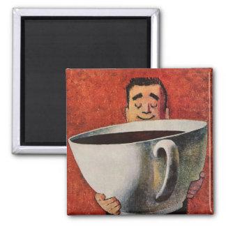 Hombre feliz del vintage que bebe la taza de café imán cuadrado