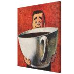 Hombre feliz del vintage que bebe la taza de café  impresiones de lienzo