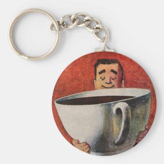 Hombre feliz del vintage que bebe la taza de café llavero redondo tipo pin