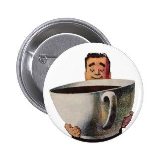 Hombre feliz del vintage que bebe la taza de café chapa redonda 5 cm
