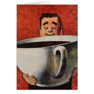 Hombre feliz del vintage que bebe la taza de café tarjeta de felicitación