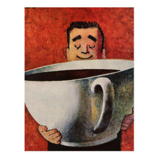 Hombre feliz del vintage que bebe la taza de café postal